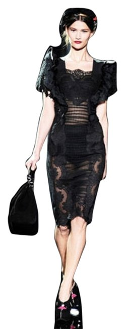 Preload https://item2.tradesy.com/images/dolce-and-gabbana-black-runway-lace-knee-length-night-out-dress-size-2-xs-3796816-0-0.jpg?width=400&height=650