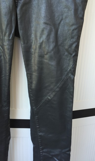 H&M Faux Leather Leather Look Rocker Skinny Pants Black Image 1