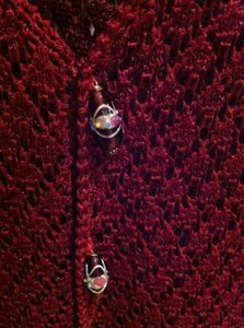 Norton McNaughton Crocheted Knit Boho Work Office Dressy Glass Buttons Glass Beads Glass Bead Wine Red Red Holiday Thanksgiving Fall 8 10 Sweater