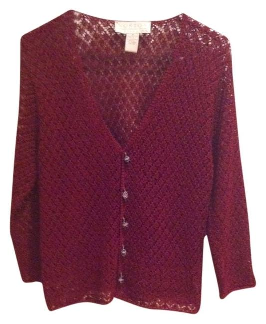 Norton McNaughton Crocheted Knit Boho Work Office Dressy Glass Buttons Glass Beads Glass Bead Wine Holiday Thanksgiving Fall Holiday 8 M Sweater