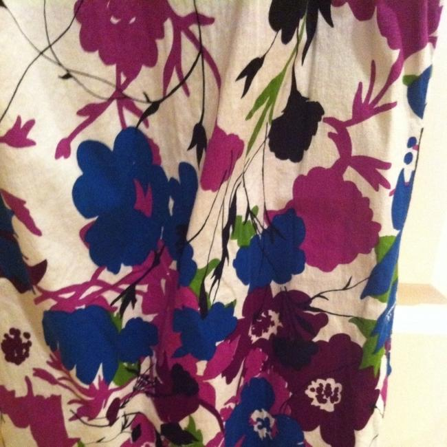 Other short dress Purples Blues Floral Print on White Vintage Cotton Cotton Blend All Season Bold Geometric Geographic Fun Hipster Office Work Work Y Club Traditional on Tradesy
