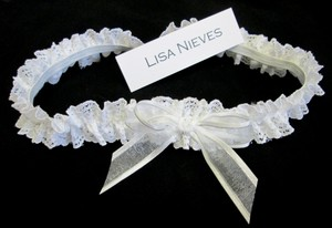 Lisa Nieves White/Silver Ivory Lace Garter .