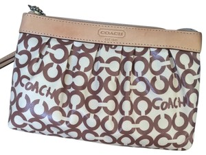 Coach Wristlet in Brown/white