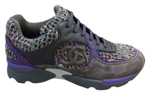 Chanel Tweed Logo Sneakers Gray Suede Multicolor Tennis Trainers Kicks Leather Luxury Purple Athletic