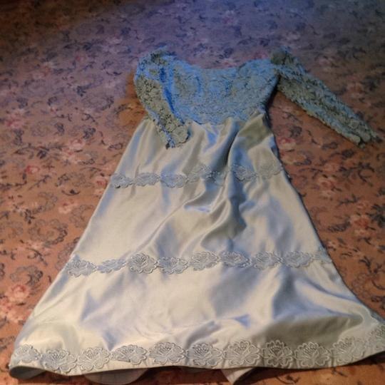 Blue Satin and Lace Bridesmaid/Mob Dress Size 8 (M)