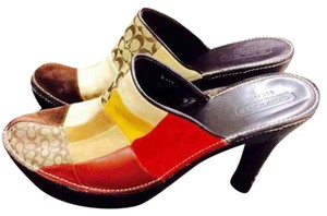 Coach Multicolor Patchwork Mules