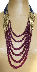 Avon Avon Navy Blue Plum Purple Gold Lucite Beads Waterfall Bib 18-21