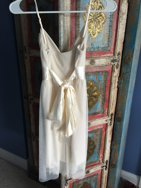 Necessary Objects Delicate Straps Mid Thigh Gauzy Silk Bow Dress