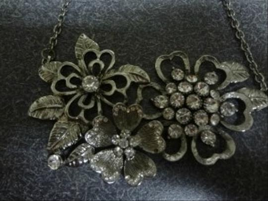 Macy's large rhinestone flower necklace