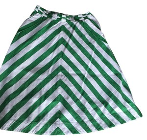 Anthropologie Skirt Green and white