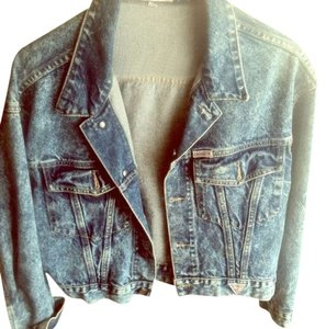 Guess Denim Jean Vintage Sequins Acid Wash Blue Womens Jean Jacket