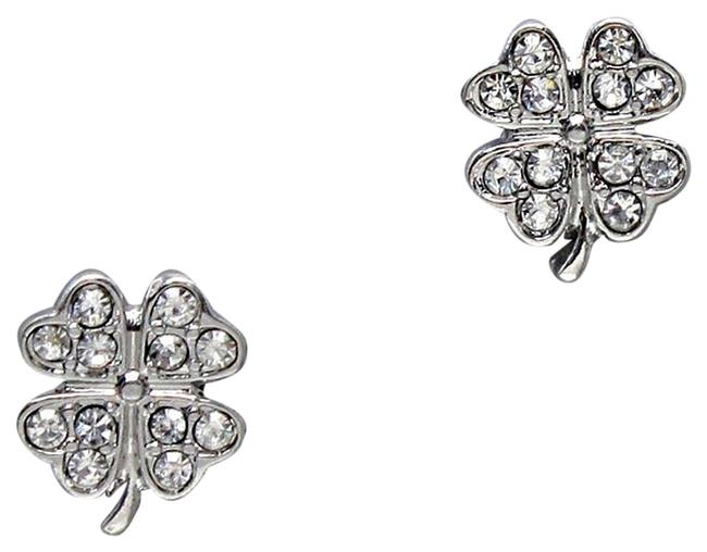 Clear Crystal Pave Clover Stud Earrings Clear Crystal Pave Clover Stud Earrings Image 1