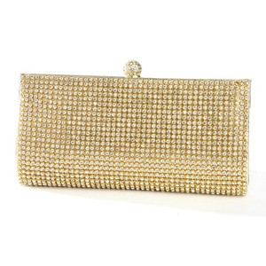 Mariell Gold Evening Bag with Bezel Set Crystals 3287eb-g Bridal Handbag