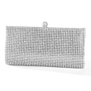 Mariell Silver Evening Bag with Bezel Set Crystals 3287eb-s Bridal Handbag