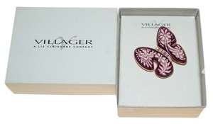 Liz Claiborne Liz Claiborne Village New Boxed Pink Burgundy Red Flower Butterfly Pin Brooch