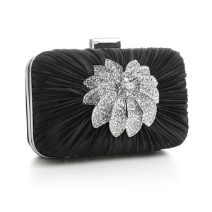 Mariell Black Bejeweled Satin Minaudiere Evening Bag 3453eb-je Bridal Handbag