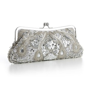 Mariell Silver Evening Or Bridal Bag With Beads Sequins & Gems 3811eb-s