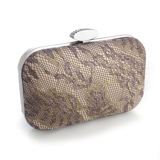 Mariell Champagne Lacey Evening Minaudiere with Shimmer 3454eb-ch Bridal Handbag