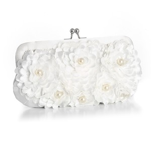 Mariell White Floral Purse with Pearl Accents 3502eb-w Bridal Handbag