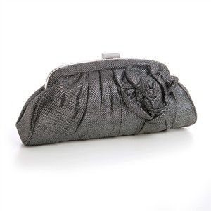 Mariell Billowy Soft Pewter Evening Bag With Metallic Thread 3734eb-pw