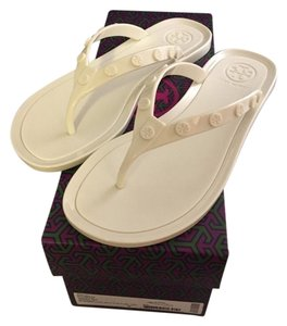 Tory Burch Jelly Studd Size 5 ivory Sandals