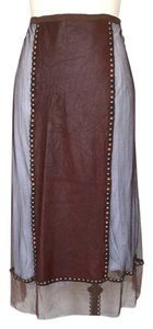 Rozae Nichols Apron Tulle Studded Maxi Skirt BROWN