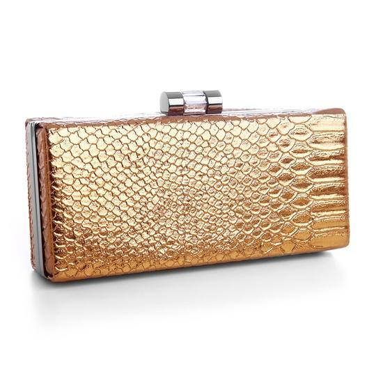 Mariell Bronze Faux Croc Skin Coppery Minaudiere with Gun Metal Frame 3743eb-bz Bridal Handbag