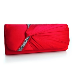 Mariell Red Satin Pleats Evening Bag with Silver Mini Sequins 3746eb-re Bridal Handbag