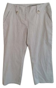 Michael Kors Capris Off white with tan and brown pinstripe