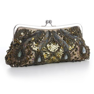 Mariell Olive Green Evening Bag With Beads Sequins & Gems 3811eb-ol