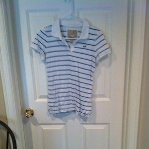 Hollister Juniors 10 12 Small Medium Large L Lg Stripe Polo Preppy Beach Beachy Cotton Shirt Pullover Polo Shirt Logo Bird $10 T Shirt White With Blue