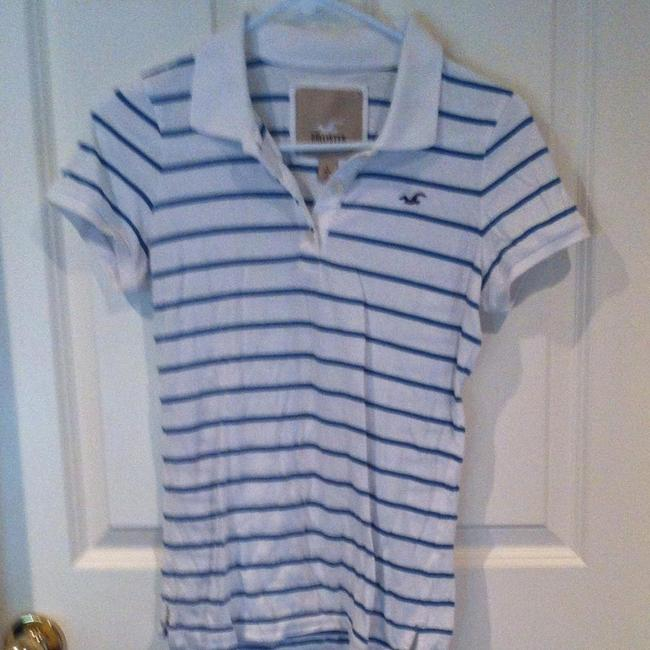 Hollister Juniors 10 12 Small Medium Petite Large L Lg Stripe Polo Preppy Beach Beachy Cotton T-shirt Pullover Polo Logo Bird T Shirt White With Blue