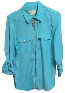 Michael Kors Button Down Shirt Turquoise
