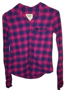 Abercrombie & Fitch Button Down Shirt Navy, pink, green
