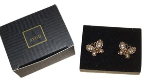 Avon Avon 1994 New Boxed Brilliant Butterfly Pierced Earrings Gold Tone White Rhinestone