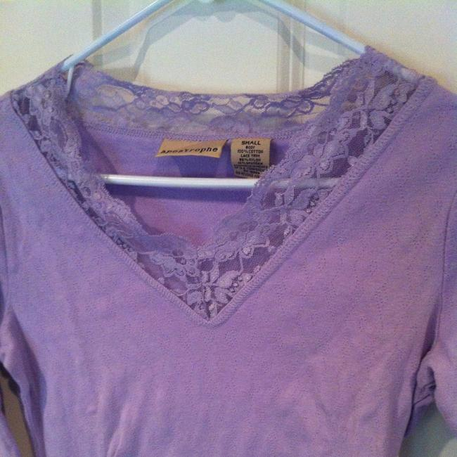 Preload https://img-static.tradesy.com/item/380173/apostrophe-purple-lavender-and-lace-small-tee-shirt-size-4-s-0-1-650-650.jpg