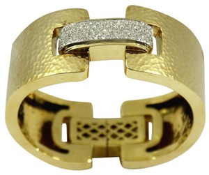 Classic Design Hammered Gold Cuff with Diamond Connector