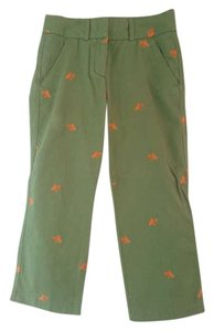 J.Crew Crop Fish Goldfish Detail Capri/Cropped Pants green