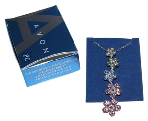 Avon Avon 2009 Presidents Club Achievement Award Pink Blue Flower Journey Pendant Necklace