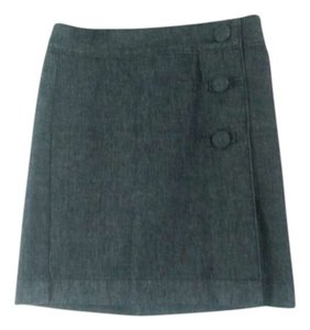 Ann Taylor Mini Button Wrap Mini Skirt Denim