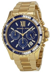 Michael Kors Michael Kors Chronograph Crystal Navy Dial Gold-tone Ladies Watch