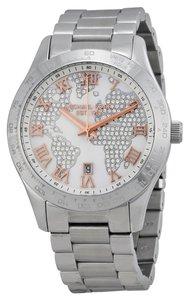 Michael Kors Michael Kors Silver Crystal Map Pave Dial Stainless Streel Ladies Watch
