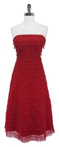 BCBGMAXAZRIA Tiered Tulle Strapless Tea Length Dress