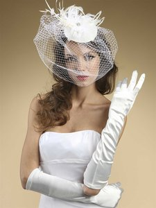 Mariell Ivory Below Elbow Prom Matte Satin 224gl-lti Gloves