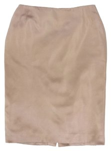 Saint Laurent Silk Pencil Skirt Champagne