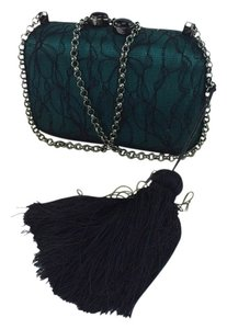 Kotur Margo Lace Tassle Minaudiere Green and Black Clutch
