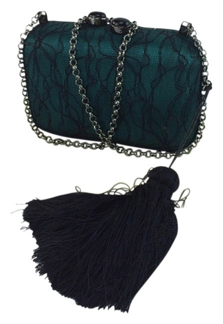 Kotur Margo Tassle Minaudiere Green and Black Floral Lace Laid Over Satin Hard-shell Clutch Kotur Margo Tassle Minaudiere Green and Black Floral Lace Laid Over Satin Hard-shell Clutch Image 1