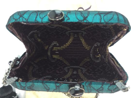 Kotur Margo Lace Tassle Minaudiere Satin Green and Black Clutch