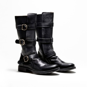 Fiorentini + Baker Leather Belted Rocker Chic Italian Black Boots