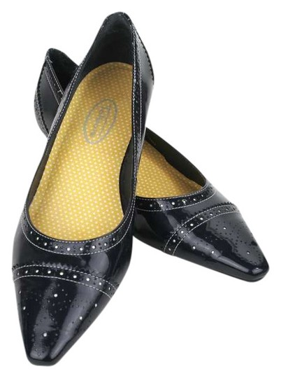 Talbots Patent Leather 7aa Brogue Brogue Detailing Pumps Grey Flats